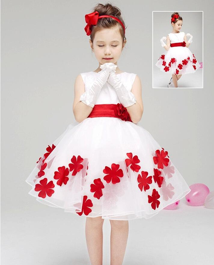 2018 Bow Flower Girl Dresses 2016 For Weddings Sleeveless Taffeta Flowers Scoop Neck Custom Made Pageant Gowns Party Girls From