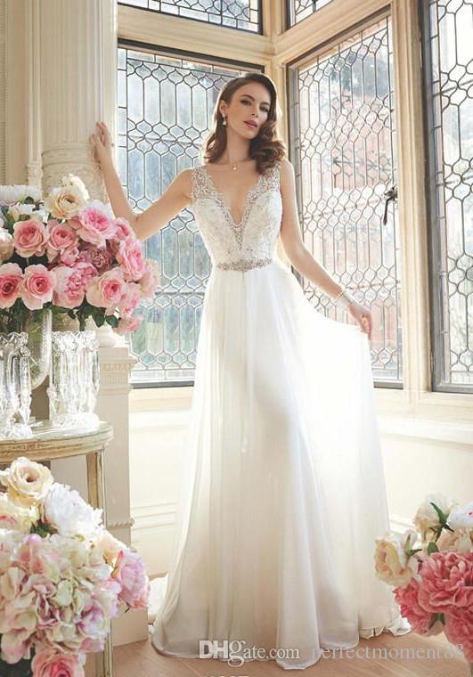 Discount 2017 Fabulous Wedding Dresses A Line V Neck Sleeveless ...
