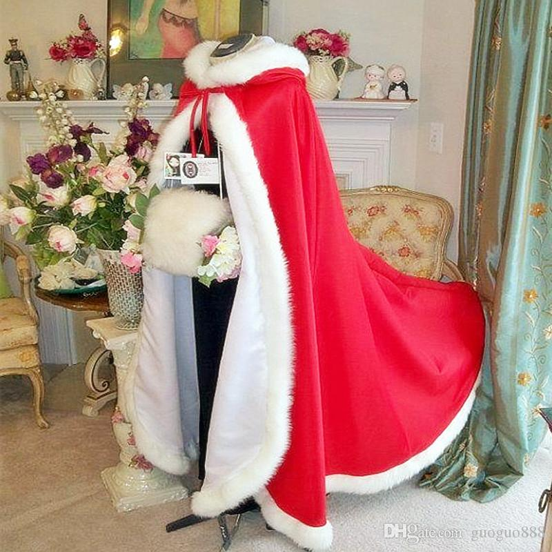 2018 Wedding Dresses Women White/Ivory Faux Fur Trim Winter Christmas Bridal Cape Stunning Wedding Cloaks Hooded Long Party Wraps Jacket