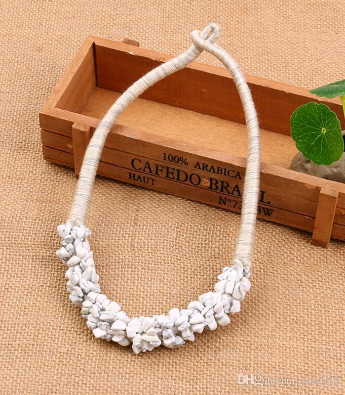 Venda quente Estilo Bohemian India Jóias Handmade Pedra Natural Ágata Cristal Rubble Gargantilha Collar Colar em Massa Por Atacado
