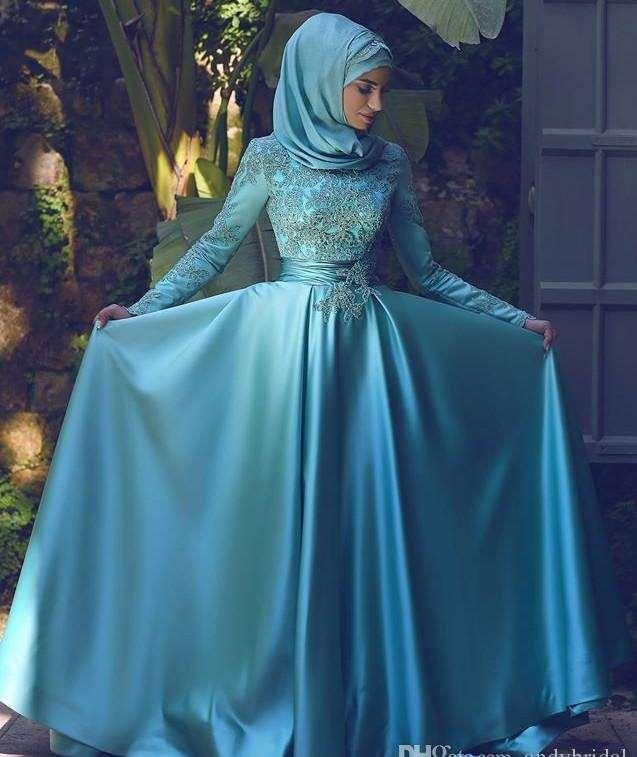 2016 이브닝 착용 긴 소매 아랍어 가운 이슬람 이브닝 드레스 플러스 사이즈 정장 드레스와 아플리케 중동 스타일