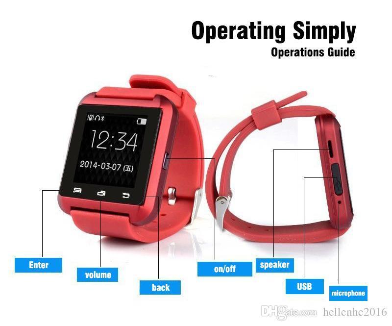 مصنع الجملة U8 smartwatch مع مربع التجزئة أرخص بلوتوث سمارت ووتش الهاتف ماتي لالروبوت IOS فون سامسونج LG LG سوني