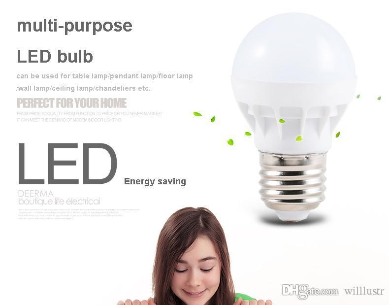LED Ampuller E27 Küre Ampuller Işıkları 3 W SMD2835 LED Işık Ampuller Sıcak Beyaz Süper Parlak Ampul Enerji Tasarrufu Işık 110 V 220 V