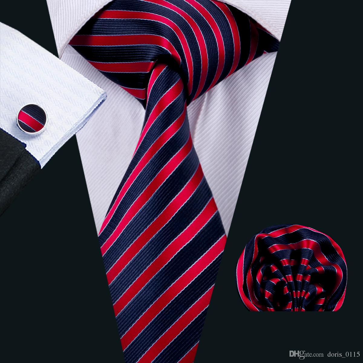 b9506d2da755 2019 Classic Silk Mens Ties Red Tie Sets Strips Mens Neckties Tie Hanky  Cufflinks Jacquard Woven Meeting Business Wedding Party N 1504 From  Doris_0115, ...