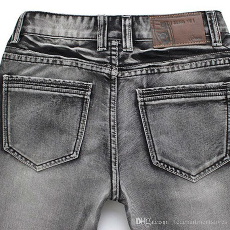 New Arrival Fashion Men's Jeans Slim Water-washed Straight Pants Light Gray Wholesale