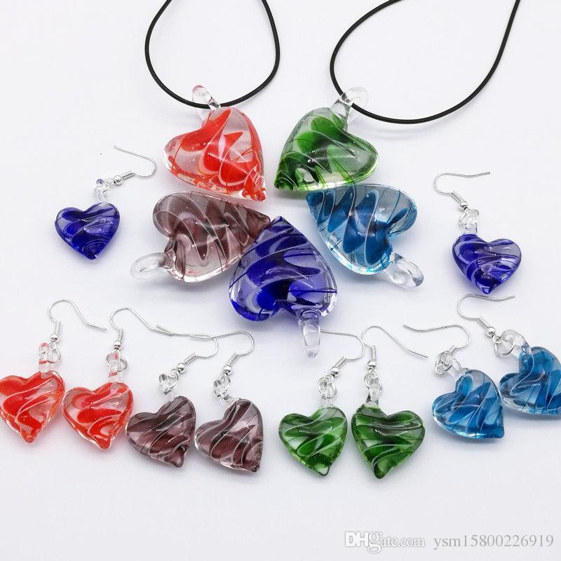القلب مورانو lampwork الزجاج الخرزة قلادة أقراط أنيقة هناك خمسة لون اختياري