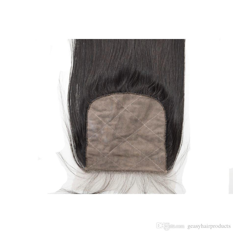 Human Hair Wefts With Closure Virgin Peruvian Straight Silk Base Closure With Bundles G-EASY