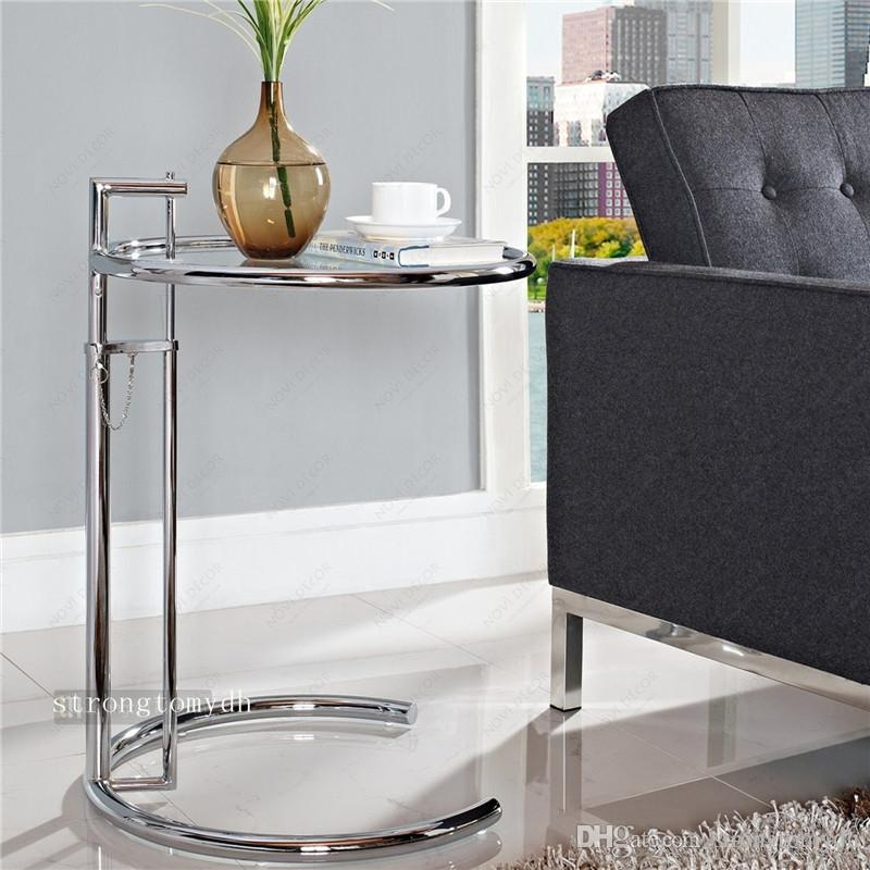 2017 Eileen Gray Sofa Side Table,Lift Stainless Steel Glass Coffee Table  Functional Adjustable Height Bed Side Tables,Living Room Round Table From