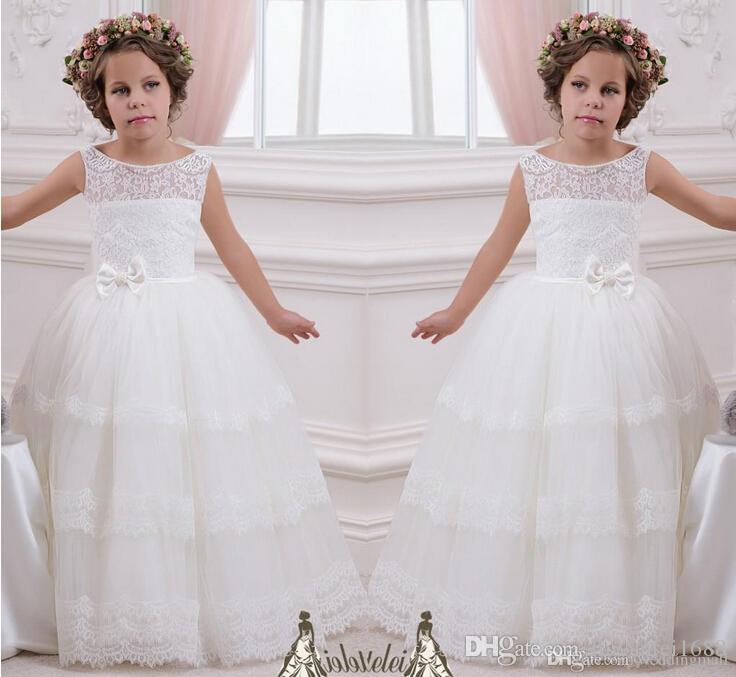 2019 Ceinture Dentelle Perles Robe De Bal Robe De Fille De Fleur Robes Vintage Enfant Pageant Robes Sainte Communion Robes De Mariage De Fille De Fleur
