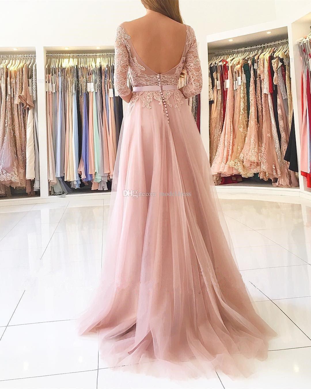 Румяна розовый Сплит длинные платья подружек невесты 2020 Sheer шеи 3/4 длинные рукава аппликации кружева фрейлина страна свадебные платья для гостей дешевые