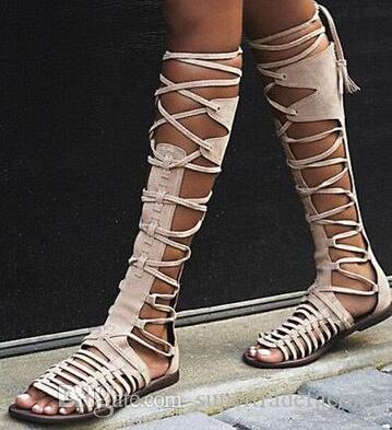 3b51d6eefa6b New Designer Grey Suede Leather Lace Up Flat Knee High Sandals Boots Peep  Toe Cut Out Strappy Gladiator Sandals Boots Women Shoes For Sale Womens  Loafers ...