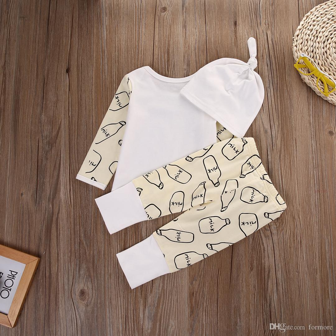 Xmas Newborn Baby Clothing Set Girl Boys Boutique Clothing Set Kids Toddler Outfit Milk Bottle Christmas Pajamas Long Top+Pants+Hat