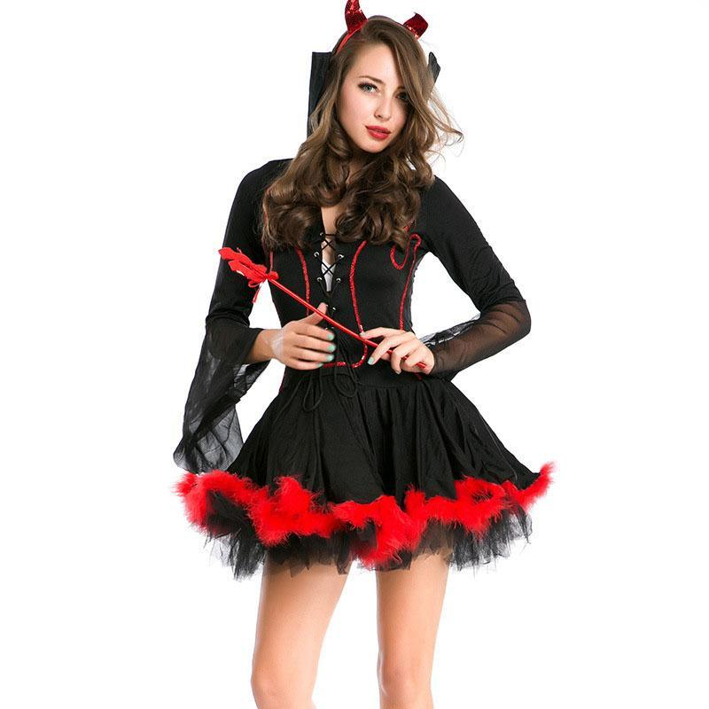 ed234cc0196d5 Halloween Costumes Women Devil Role Playing Character Costume Lady  Hallowmas Cosplay Clothing Make Up Party Bar Black Res Dress Halloween  Costumes For Four ...