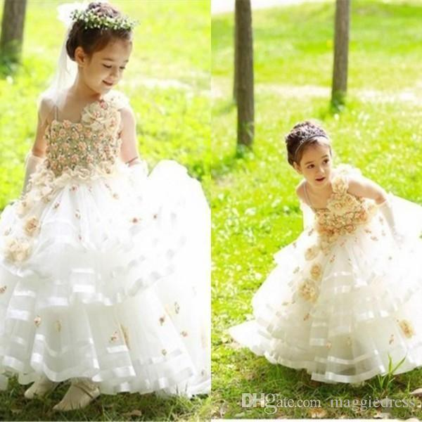 Cheap Girl Pageant Dresses A-line Halter Lace Appliques Chapel Train Flower Girl Dresses Formal Dresses For Girls Kids Bridesmaid Dress