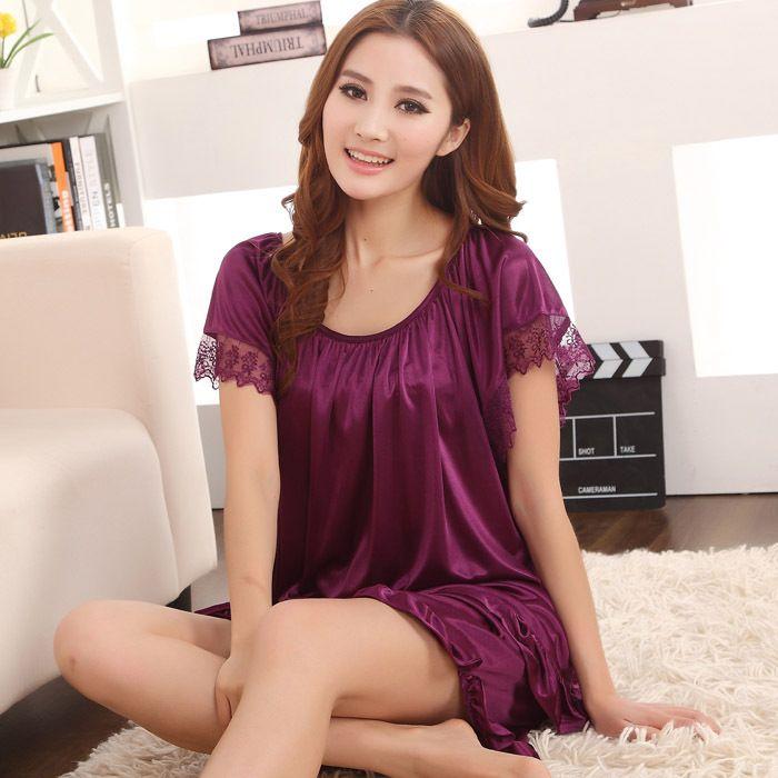 Wholesale 2015 Sales Of Hot Sexy Silk Pajamas Women Round Neck Lace Summer  Women S Fashion 1cd4907b3
