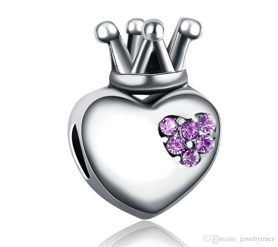 Aşk kalp taç boncuk kristal Avrupa spacer charm fit ile Pandora Chamilia Biagi bilezik Pandora Bilezikler Charm Boncuk Uyar