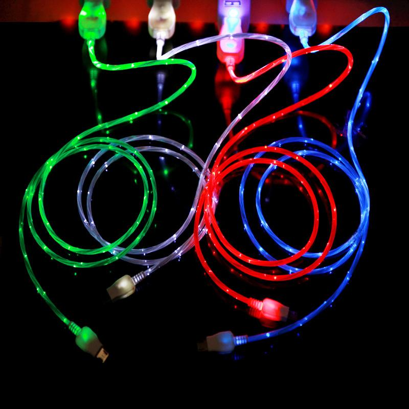 Flowing LED Visible Flashing USB Charger Cable 1M 3FT Data Sync Colorful Light Up Cord Lead for Samsung HTC Blackberry CAB204