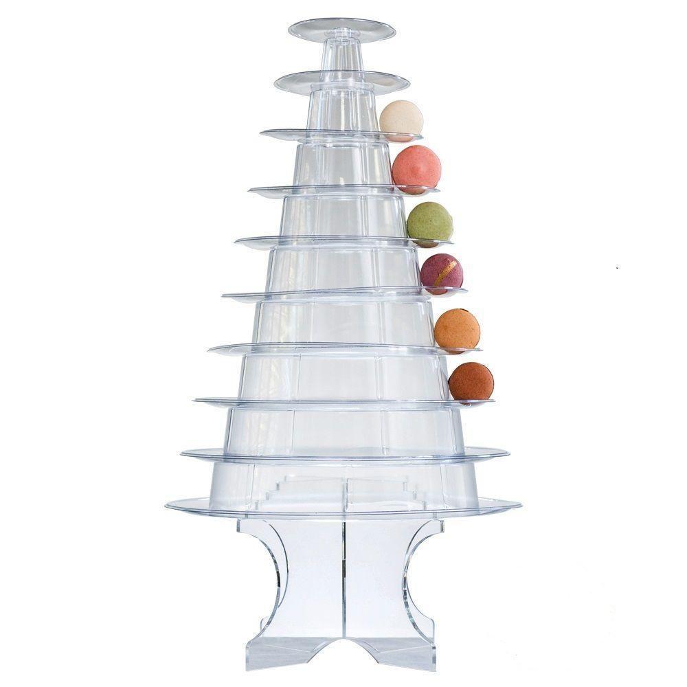 وصول جديد 10 الفئة برج معكرون الكعكة معكرون العرض مع أكريليك قاعدة الزفاف حفلة عيد الميلاد الحلوى العرض
