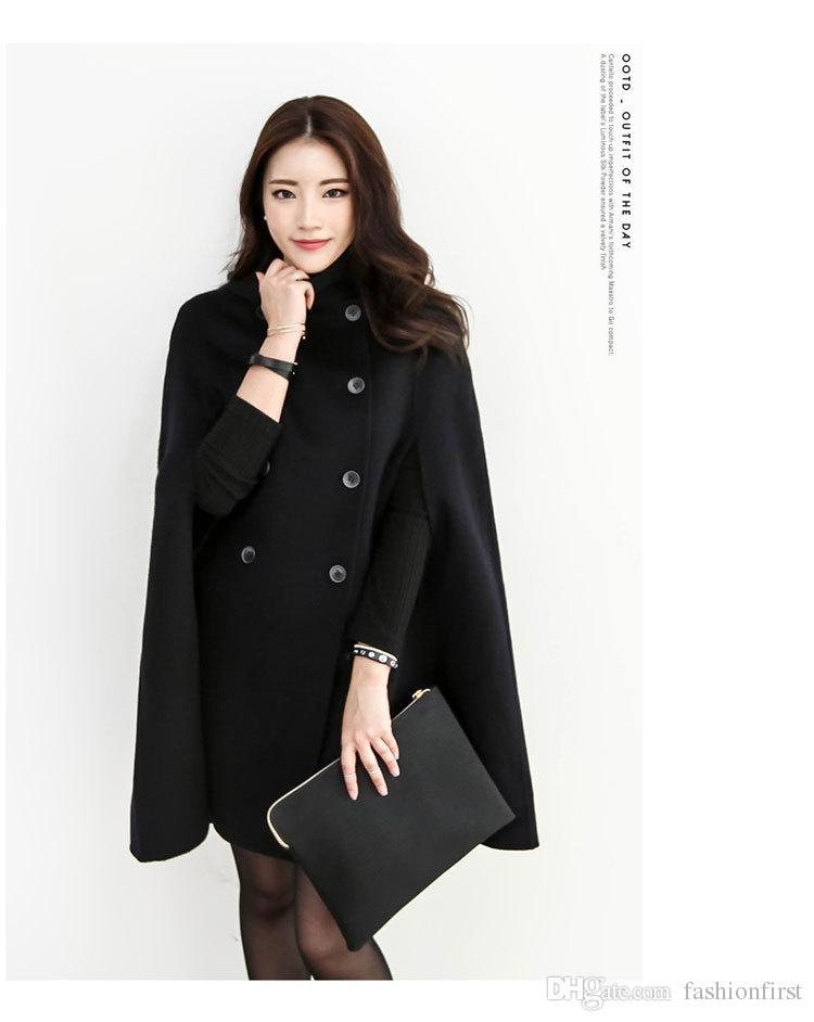 Capa de la chaqueta del invierno de la capa del envío de la capa del negro de Breasted del doble de las mujeres militares del invierno
