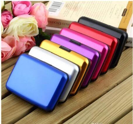 2015 핫 럭셔리 유용한 방수 비즈니스 ID 신용 카드 지갑 홀더 알루미늄 금속 케이스 상자 여러 색상