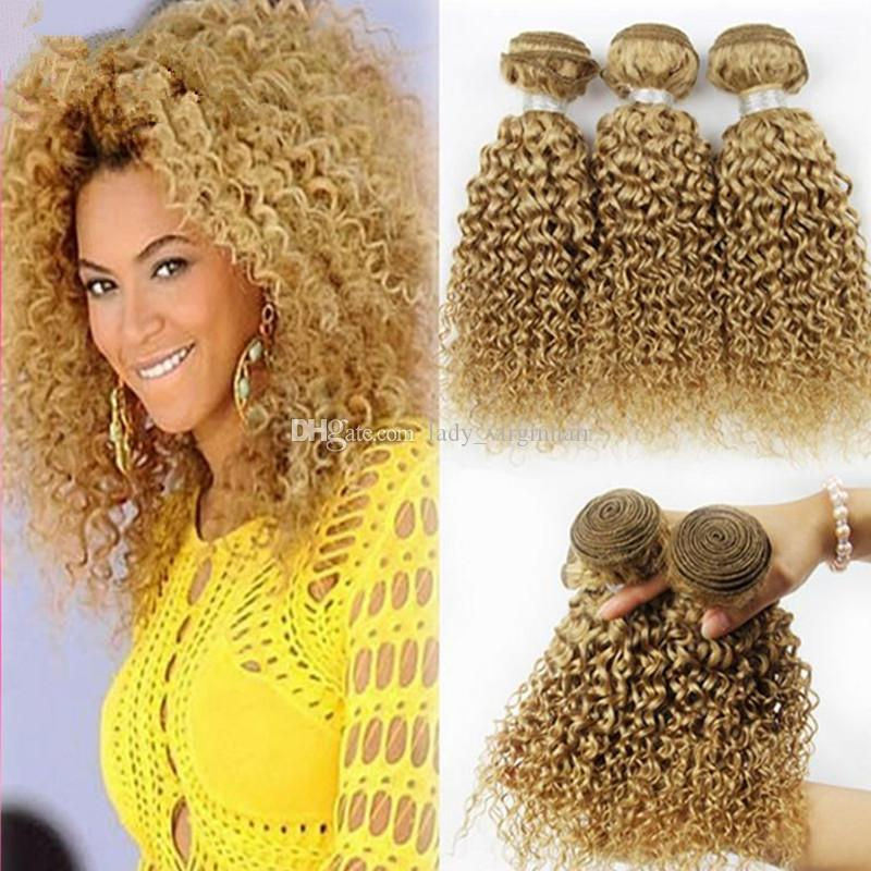 Curly Blonde Hair Extensions Indian Honey Blonde Human Hair Weft