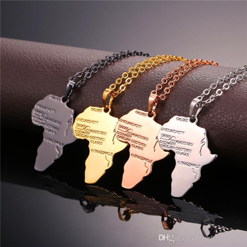 U7 Africa Map Colgante Collar Platino / 18K Real / Oro Rosa / Pistola Negra Plateada Unisex Mujeres / Hombres Moda Colgante estilo Africano Hiphop
