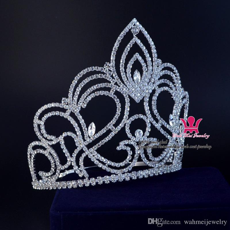 Pageant Tiara Taç Özledim Güzellik Kazanan Kraliçe Taç Gelin Düğün Takı Prenses tiara Parti Balo Gece Clup Gösterisi Kristal Kafa Bandı Mo189
