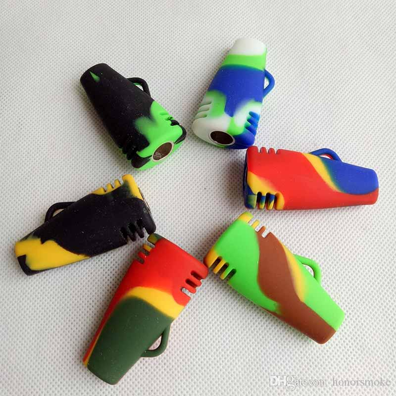 Newest 51mm Colored Silicone Pipe With Metal Bowl one hitter Hand Tobacco pipes Dry Herb For Cigarette Smoking Tools Accessories