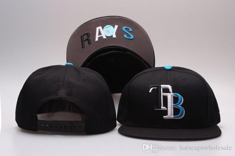 New Arrival Rays Full Black Color Snapback Hats Embroidered TB Letter Team  Logo Brand Hip Hop Sports Baseball Adjustable Caps Lids Cap From ... a1548e7e479f