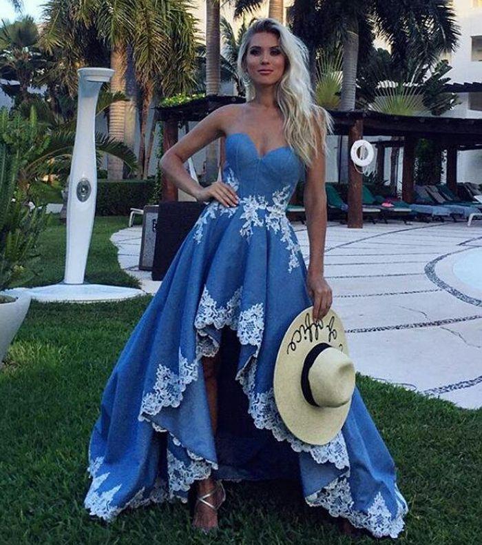 Синее высокое низкое вечернее платье с кружевной отделкой удивительное платье выпускного вечера для подростков без бретелек вечернее платье