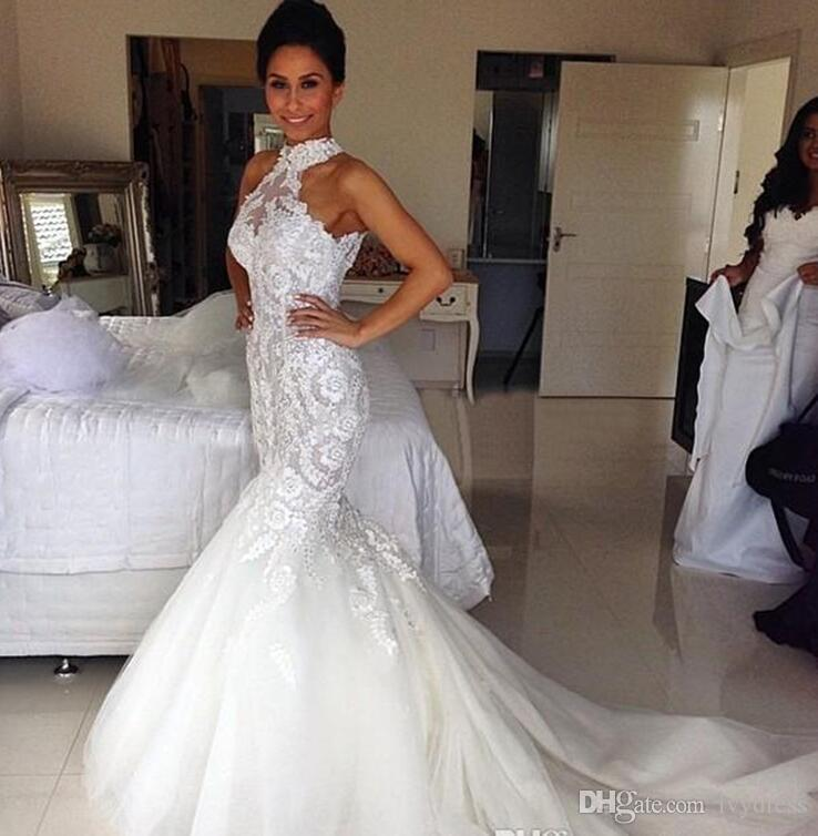Discount Latest Style White Ivory Mermaid Wedding Dresses Sleeveless Beaded Sequined Crystal Chapel Train Tulle Lace High Neck Bridal Gowns Halter