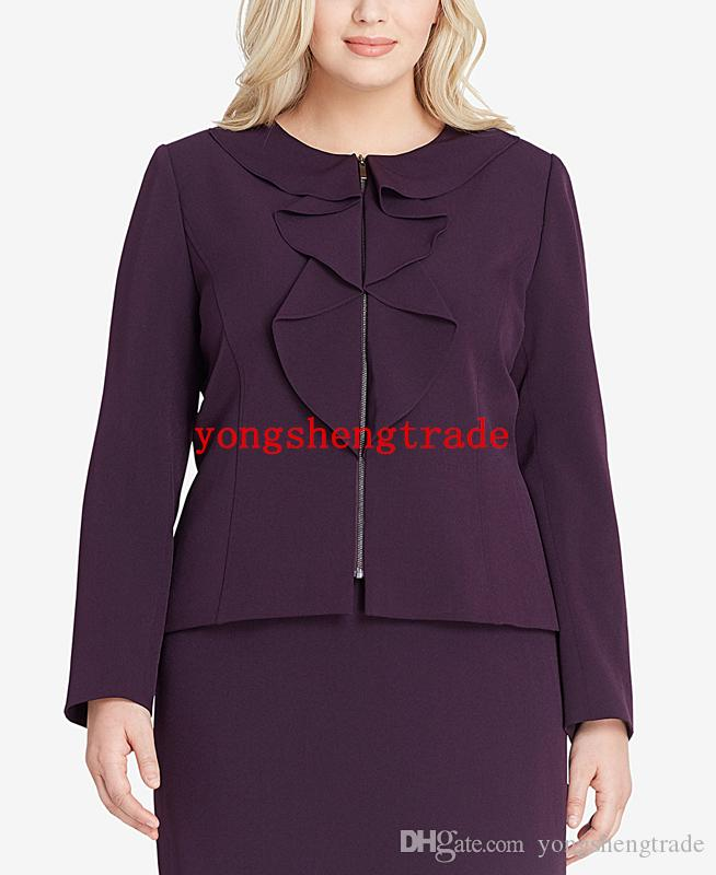 Plus Size Purple Zippered Skirt Suit Custom Made Plus Size Women Suits Ruffle Collar And Front Perfect For Any Occasion