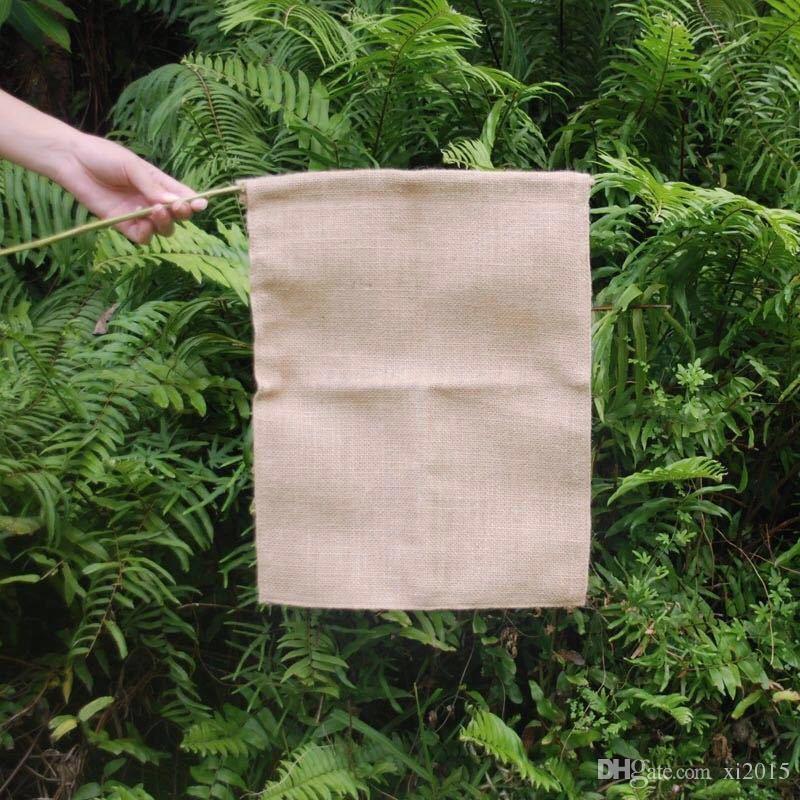 Toile de jute drapeau de jardin 31 * 46 cm jute volants bricolage toile de lin cour suspendu drapeau maison décoration portable bannière 4 styles wen4363