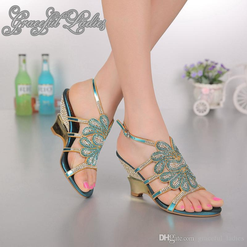 Blue cristalli tacco basso Donne sandalo cuneo talloni delle donne Beach Womens Sandles signore zeppa Strass flip flop sandali