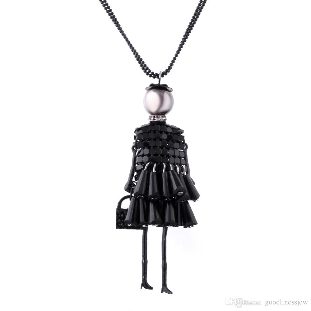 Necklaces Pendant for Women Women Rhinestone Necklace Lovely Dress Doll Sweater Girls Pendant Jewelry wholesale Chain Long Necklace