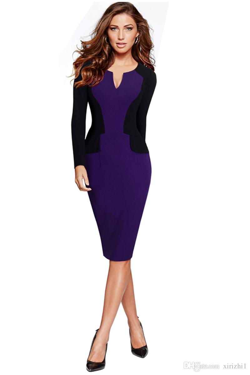 19c8005b56ae 2017 Long Sleeve Bodycon Dress Spring And Autumn New Arrival Elegant  Contract Color Pencil Dress Purple Shop Dresses Discount Dresses From  Xirizhi1