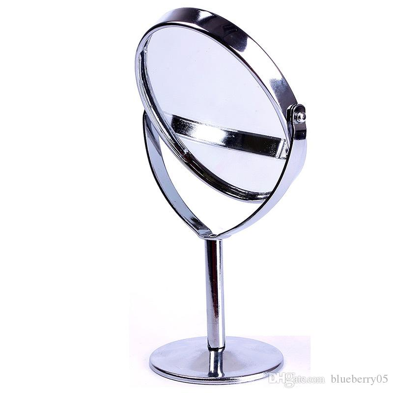 High Quality Women Oval Shape Make Up Mirror Double Dual Side Rotating Cosmetic Desk Stand Table Mirror Makeup Compact Mirror