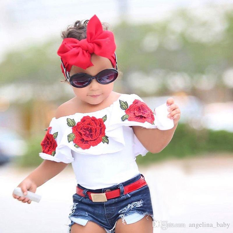Baby Outfits 2017 Summer Rose Flower Off Shoulder Tops Denim Jeans Shorts Girls Clothing Sets 2 Piece Suit Ins Clothes Girls Clothes Z11