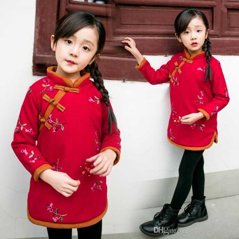 2019 2018 new year girls dresses chinese style girls embroidered cheongsam dress autumn winter. Black Bedroom Furniture Sets. Home Design Ideas