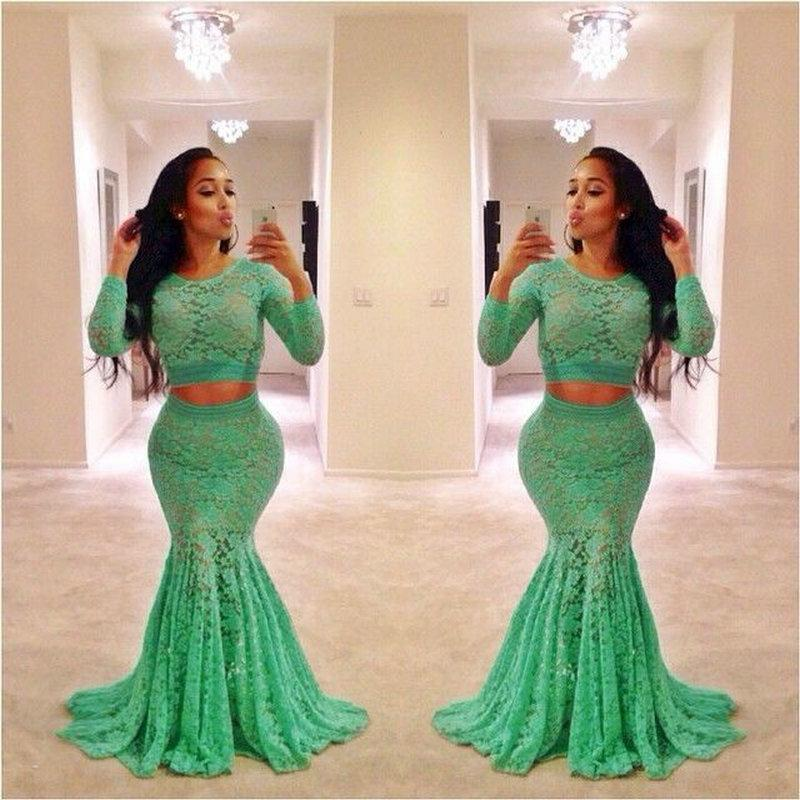 Indian Prom Dresses Green Lace Long Sleeved Sheer Crew Neck Two Pieces Evening Gowns Mermaid Bodycon Special Occasions Dress Party