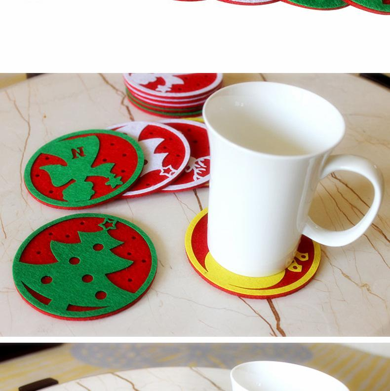 Christmas Cup Mat Creative Decoration Coffee Table glass mat Cute Cartoon Coaster New Water Coaster Insulation Pad Coaster Doily