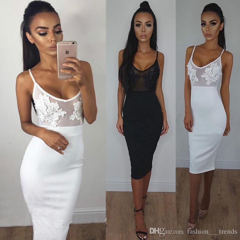 Women 2017 Fashion Strap Perspective Lace Dress Sexy Embroidery Party Dresses Summer Black White Sheath Mesh Bodycon Vestidos De Feta Ladies