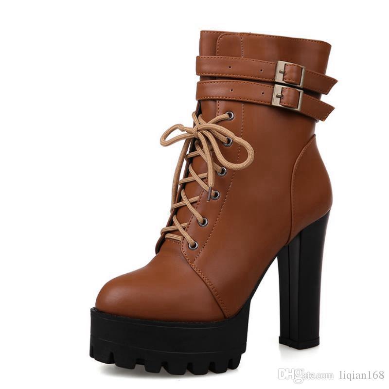 Women Ankle Boots Thick High Heels Lace Round Toe Double Buckle Platform Shoes Short Autumn Winter Booties Size 35-39 latest cheap sale outlet clearance factory outlet clearance shop offer clearance original c9D7VX87r