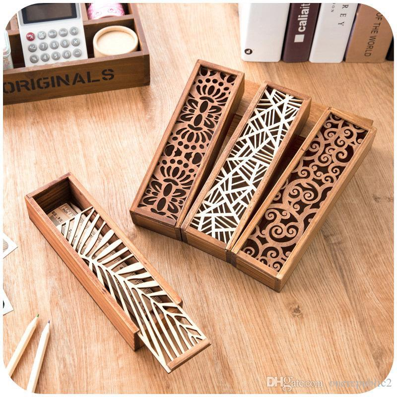 2016 South Korea Creative Stationery Lace Hollow Wooden Pencil Case Box Multifunction Students 1558