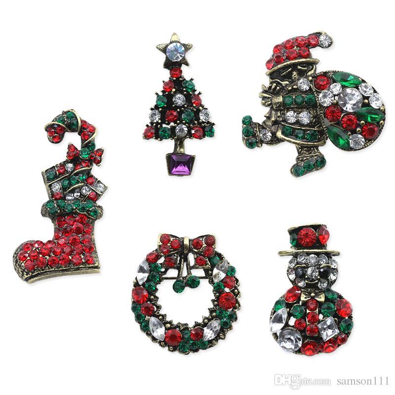 da154f0f1 Compre Vintage Christmas Brooch Rhinestone Muñeco De Nieve Árbol De Navidad Botas  Zapatos Santa Claus Broches Pins Chic Regalo De Navidad Para Mujeres ...