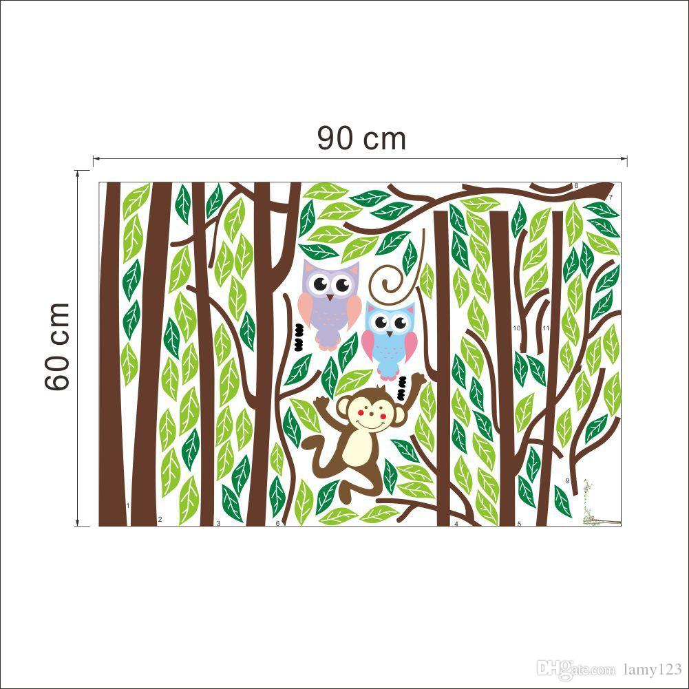Wholeasle 2016 New IDY Cartoon Owls and Monkey Tree Wall Stickers Nursery Children's Room Waterproof Home Decoration Wall Decor 220x176cm