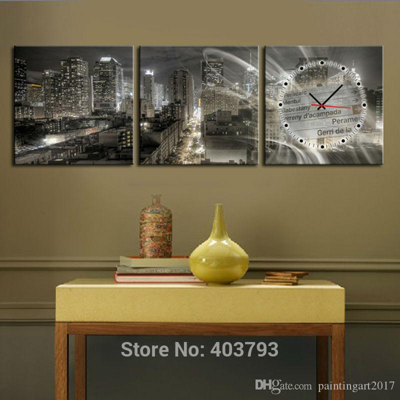 Cityscape At Night Modern Decor Clock Canvas Print 3 Panel Set Triptych  Decorative Wall Pictures No Frame