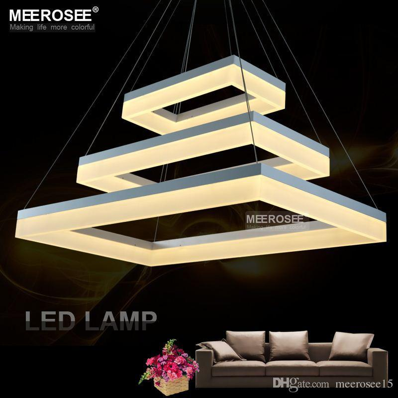 Contemporary Led Pendent Lamp White Acrylic Rectangle Suspension