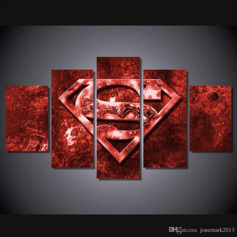 HD Printed Film Superman Logo-Kunst-Malerei-Leinwand-Druck Raumdekor Druckplakat Bild Leinwand Freies Verschiffen
