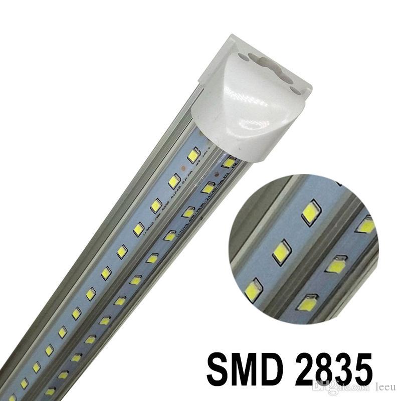 v- شكل t8 4ft 5ft 6ft 8ft برودة الباب أدى أنبوب متكامل أدى أنابيب مزدوجة الجانبين SMD2835 أضواء الفلورسنت led ac85-265v